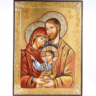 Icona Sacra Famiglia Greca Dorata